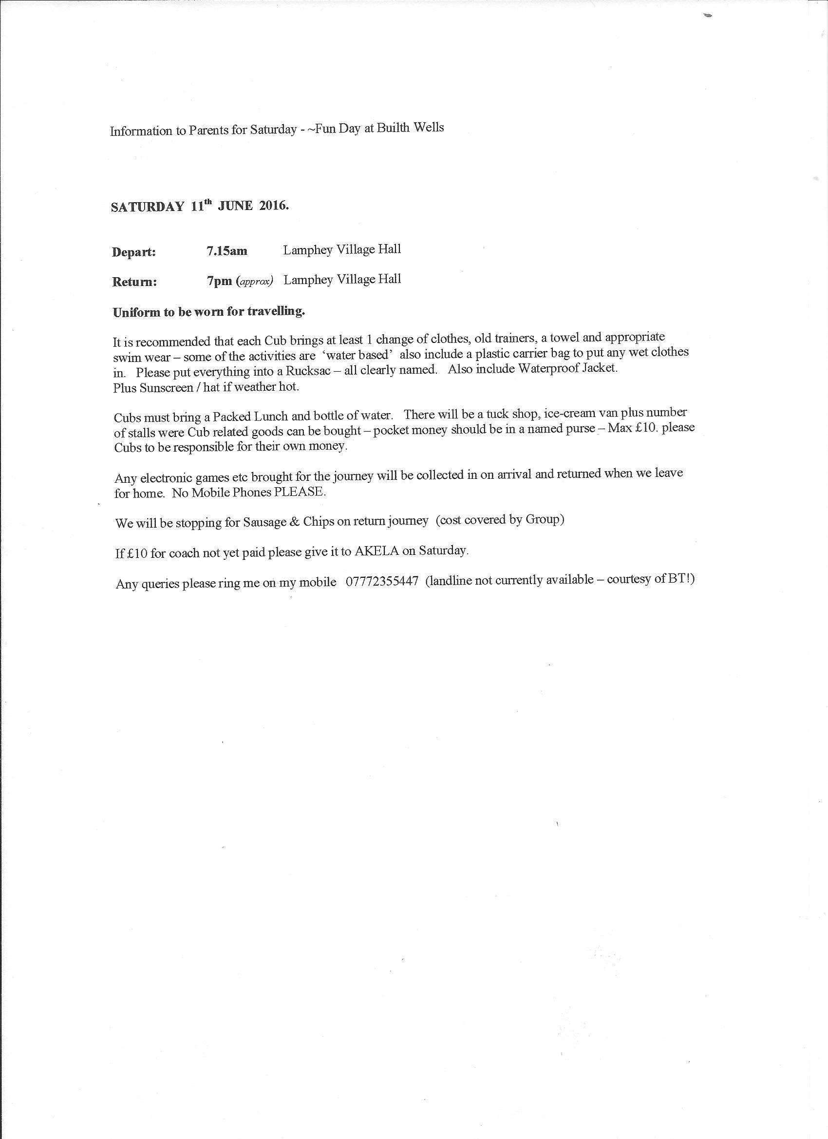 Cub Fun Day Letter